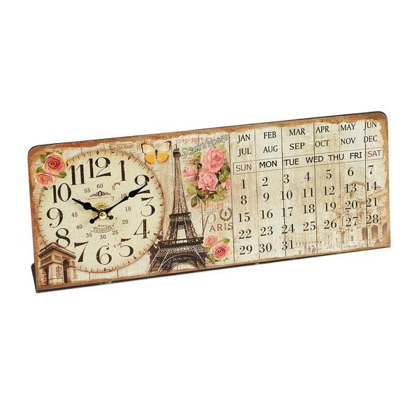 Zegar z kalendarzem Eiffel, 35x14 cm