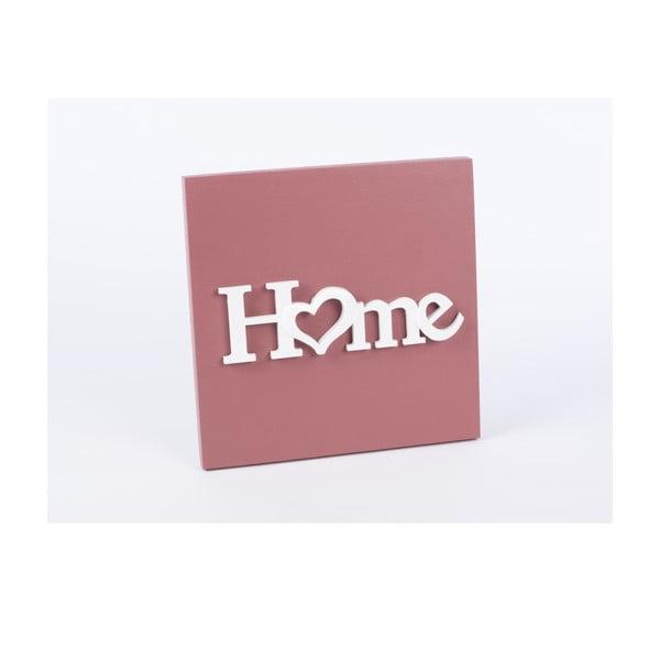 Drewniany obraz Home 30x30 cm, różowy