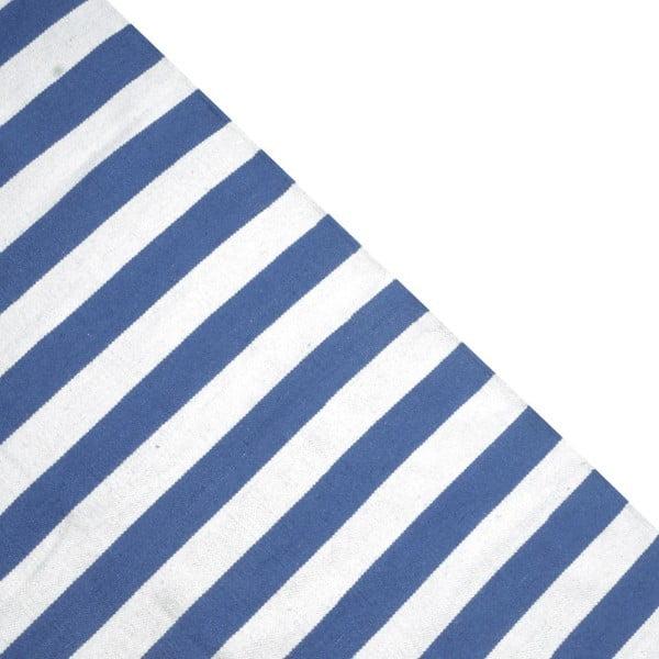 Dywan wełniany Geometry Stripes Blue & White, 160x230 cm