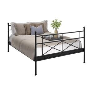 Czarne łóżko metalowe dwuosobowe Støraa Tanja, 160x200cm