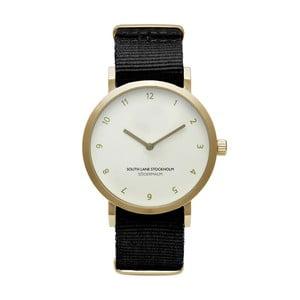 Zegarek unisex z czarnym paskiem South Lane Stockholm Sodermalm Gold Big