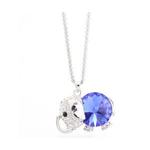 Naszyjnik ze Swarovski Elements, niebiesko-fioletowy słonik