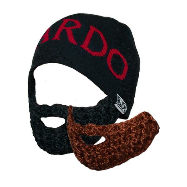 Czapka Beardo Original z dwiema odpinanymi brodami, czarna/czerwona