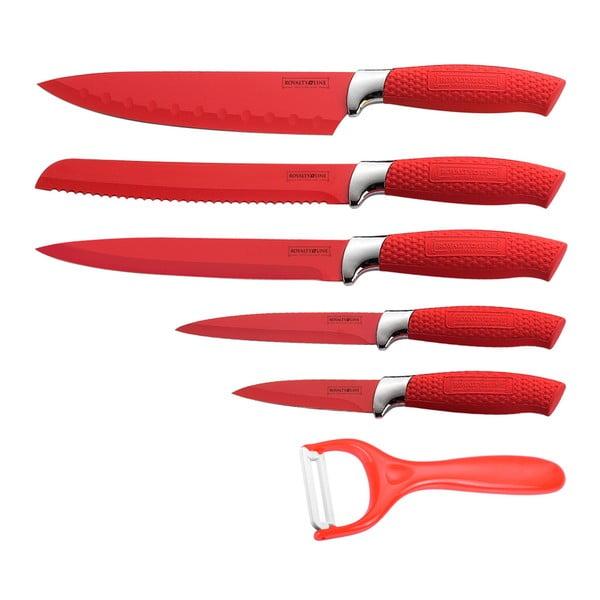 6-częściowy komplet noży  Non-stick Color, czerwony
