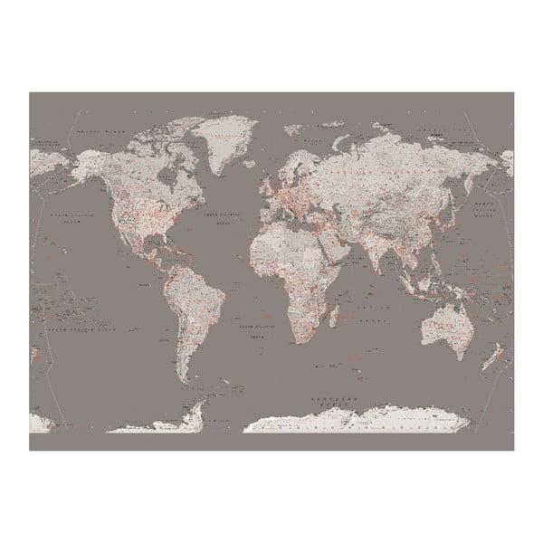 Tapeta wielkoformatowa Srebrna mapa, 158x232 cm