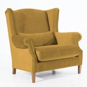 Fotel w kolorze musztardowym Max Winzer Harvey Velvet