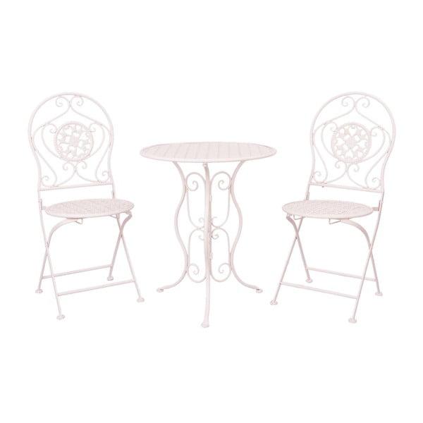 Metalowy stolik i 2 krzesła Provence, jasnoróżowe