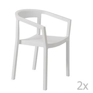 Zestaw 2 białych krzeseł ogrodowych z podłokietnikami Resol Peach