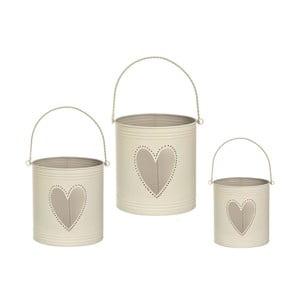 Zestaw 3 lampionów Heart Candles, kremowe