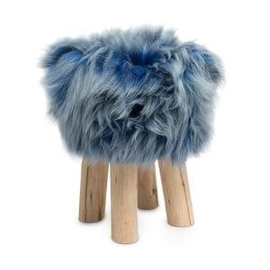 Stołek obity niebieską skórą Sheepo