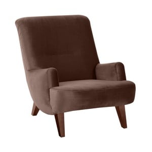 Brązowy fotel z brązowymi nogami Max Winzer Brandford Suede