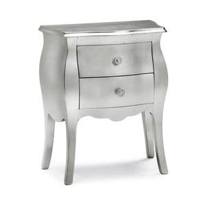 Srebrny stolik drewniany z 2 szufladami Castagnetti