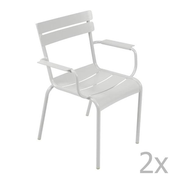 Zestaw 2 jasnoszarych krzeseł z podłokietnikami Fermob Luxembourg
