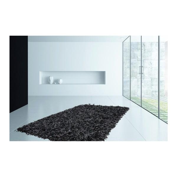 Czarny skórzany dywan Rodeo, 80x150cm