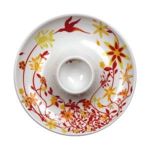 Zestaw 2 talerzy z kieliszkiem na jajko Birds Cup, pomarańczowy