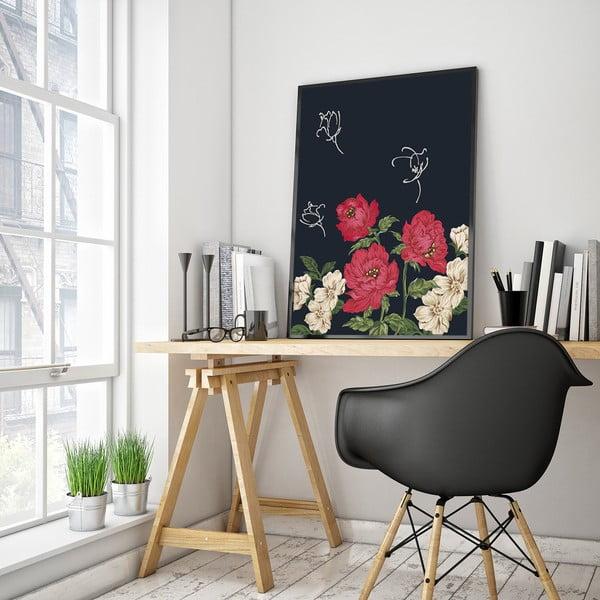 Plakat z czerwono-białymi kwiatami, 30 x 40 cm