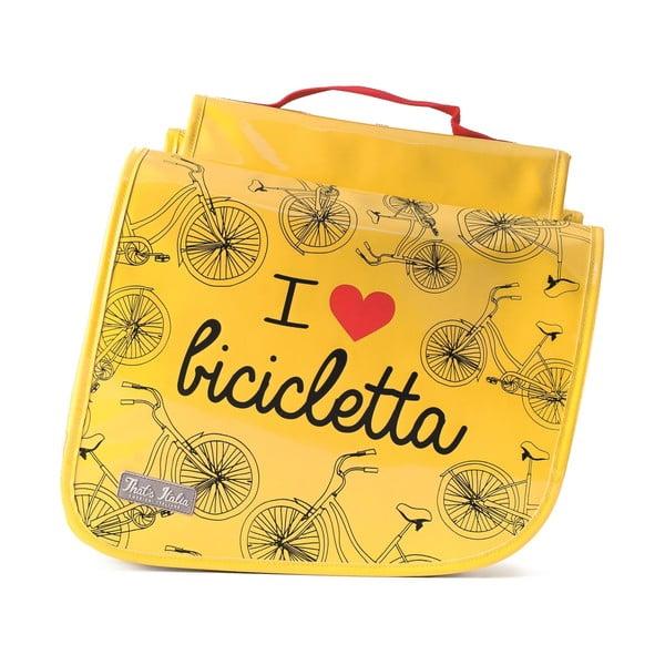 Podwójna torba na rower I ♥ Bicicleta, żółta