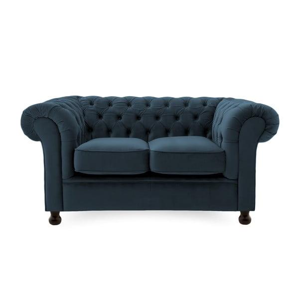 Granatowa sofa dwuosobowa Vivonita Chesterfield