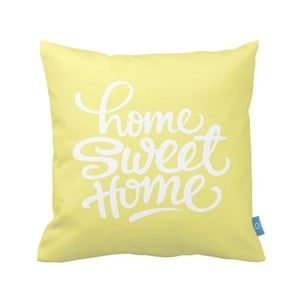 Żółta poszewka na poduszkę Home Sweet Home, 40x40 cm