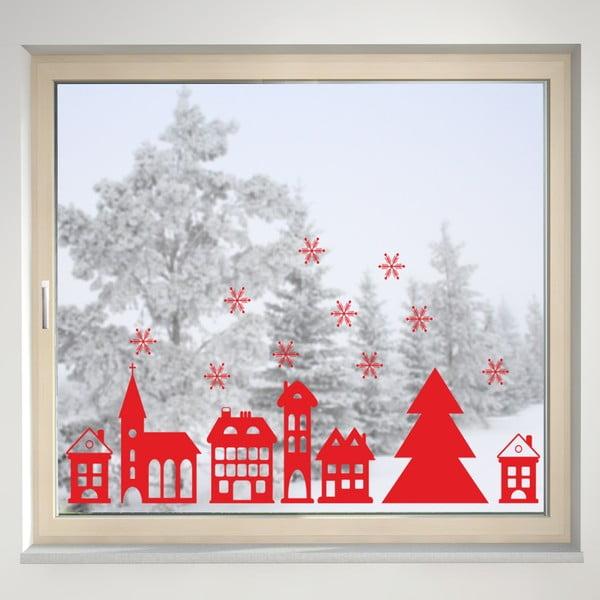 Elektrostatyczna naklejka Czerwone zaśnieżone miasto