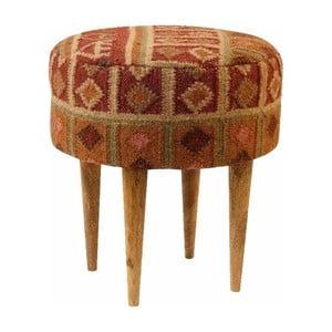 Czerwony stołek we wzory z drewna mangowca Støraa Marion