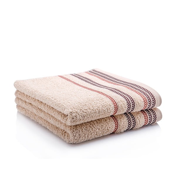 Komplet 2 ręczników Hugo Beige, 50x90 cm