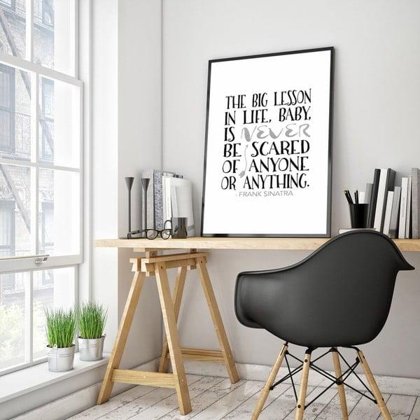 Plakat w drewnianej ramie The big lesson, 38x28 cm