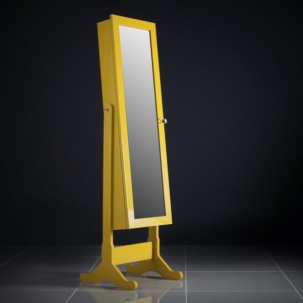 Zamykane lustro stojące ze schowkiem Serena, żłóte
