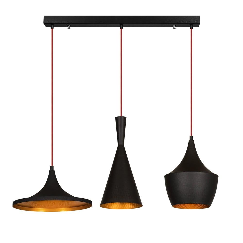 Czarna lampa wisząca z 3 różnymi kloszami Opviq lights Elmas Line