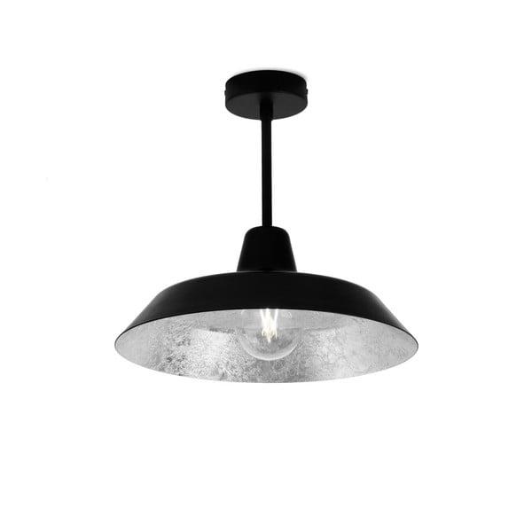 Czarna lampa wisząca z wnętrzem w kolorze srebra Bulb Attack Cinco Basic