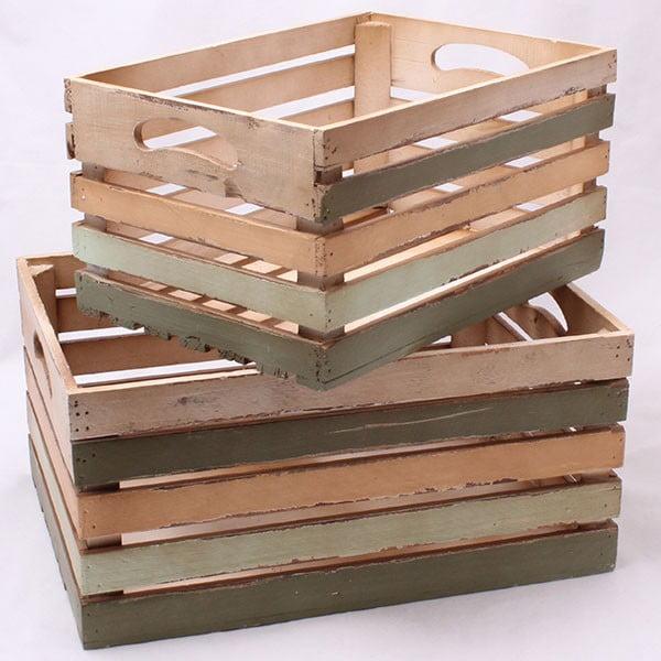 Komplet dużych drewnianych skrzynek, 2 szt