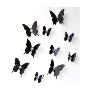 Zestaw 12 czarnych naklejek adhezyjnych 3D Fanastick Fanastick Wall Butterflies