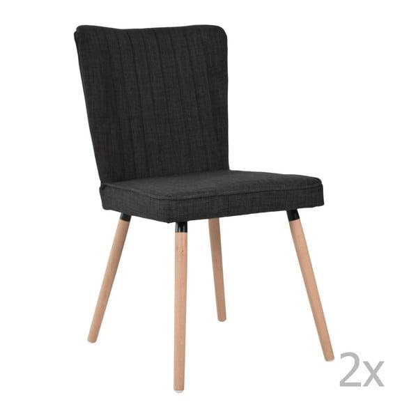 Zestaw 2 krzeseł do jadalni Niles, dębowe nogi