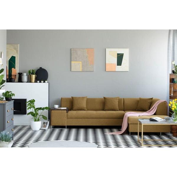 Miodowożółty narożnik z nogami w srebrnym kolorze Cosmopolitan Design Orlando, prawy róg