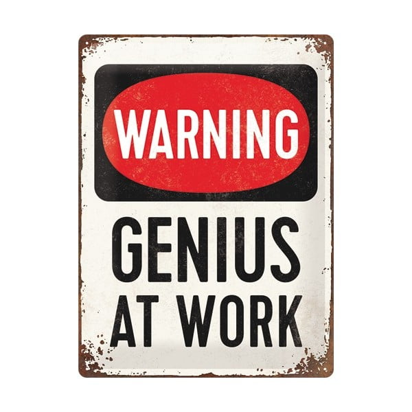 Tabliczka blaszana Genius At Work, 30x40 cm