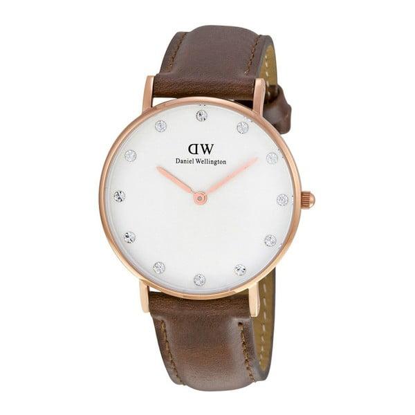 Zegarek damski z brązowym paskiem i z detalami w różowozłotej barwie Daniel Wellington St Mawes Rose, ⌀34mm