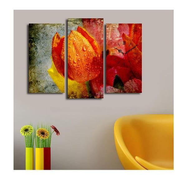 Obraz z zegarem Pomarańczowy Tulipan