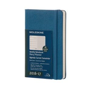 Niebieski tygodniowy kalendarz Moleskine Hard, 18 miesięcy, mały