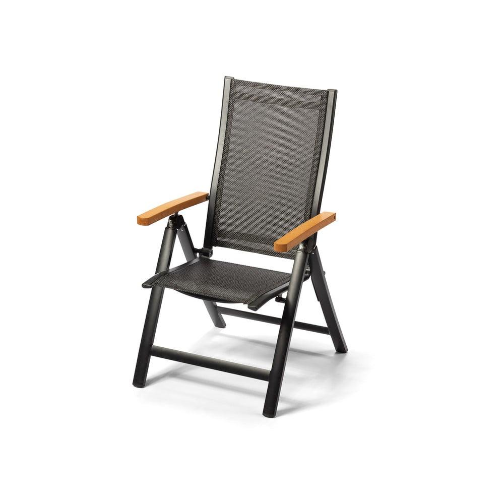 Aluminiowe rozkładane krzesło z podłokietnikami w dekorze drewna Le Bonom Comfort