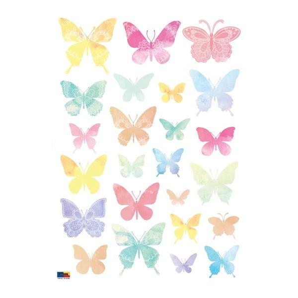 Zestaw 24 naklejek Ambiance Artistic Butterflies