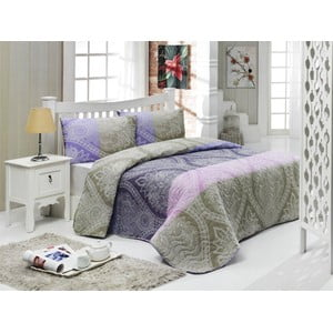 Narzuta i poszewki na poduszkę Newdamask Lilac, 200x220 cm