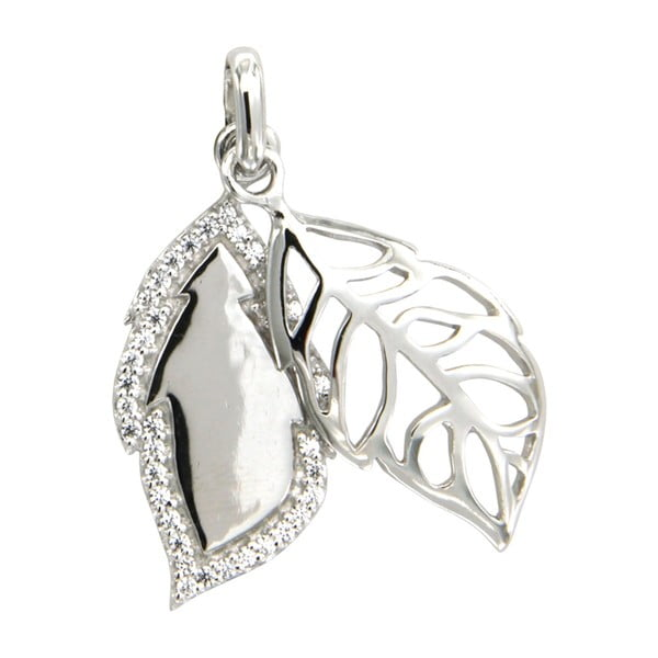 Srebrny wisiorek z białymi kryształami Swarovski Elements Crystals Leaf