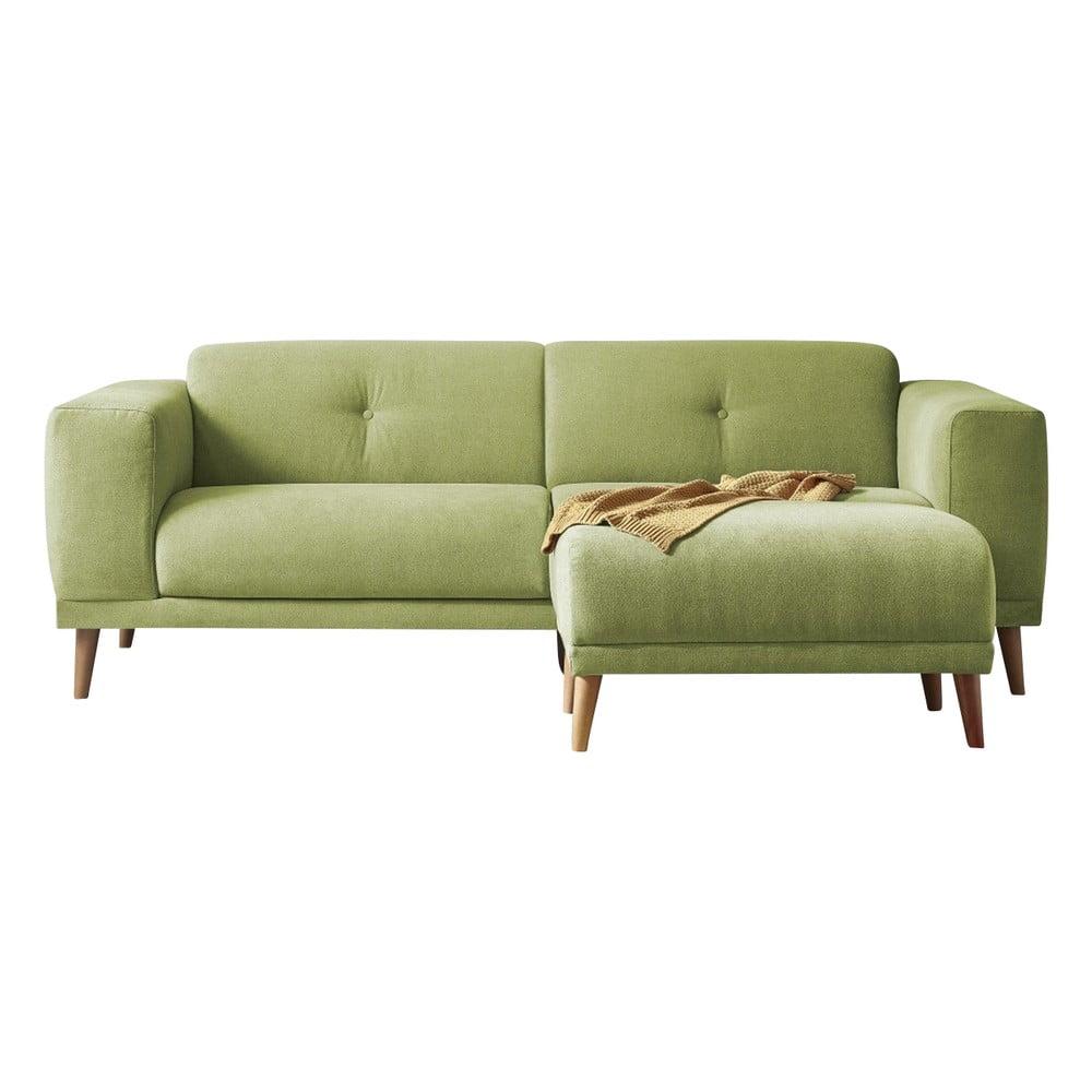 Zielona sofa Bobochic Paris Luna, 225 cm