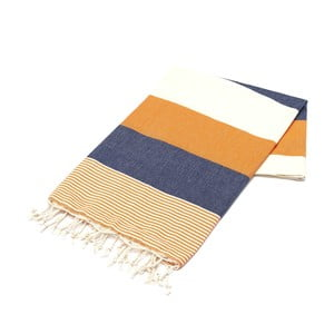 Ręcznik hammam American Fouta Orange & Navy, 100x180 cm