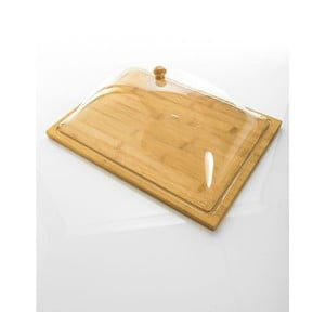 Bambusowa maselniczka ze szklanym kloszem Bambum Almendro L, 37,5x27 cm