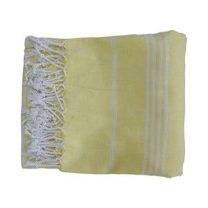 Żółty ręcznie tkany ręcznik z bawełny premium Sultan,100x180 cm