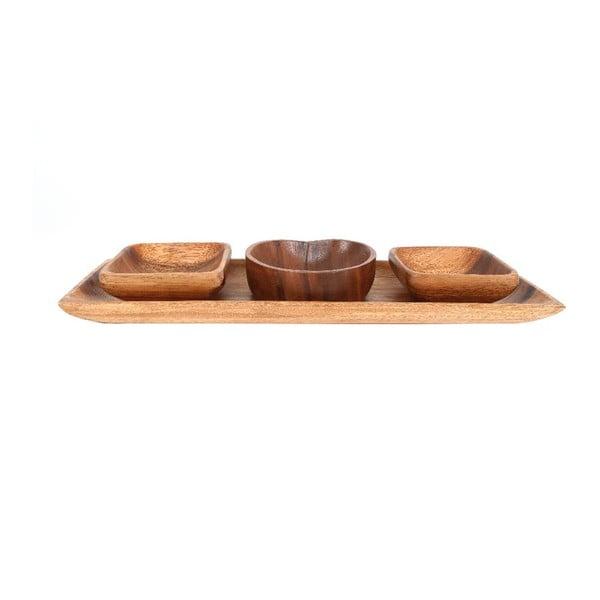 Miski do serwowania z tacą z drewna akacjowego Premier Housewares Socorro
