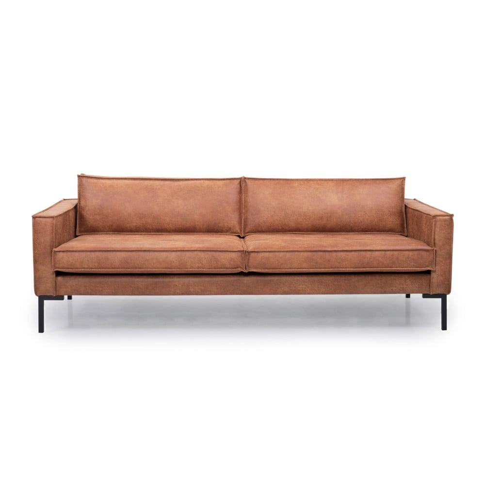 Jasnobrązowa sofa ze sztucznej skóry Scandic Rate