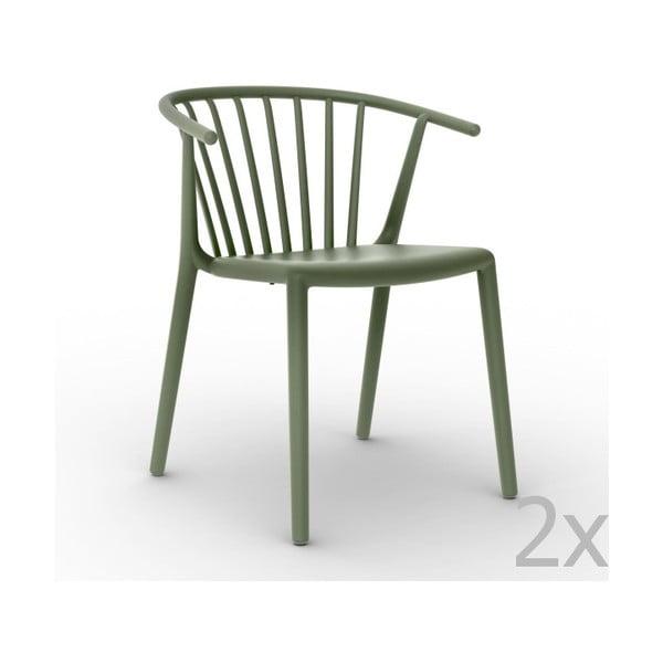 Zestaw 2 zielonych krzeseł ogrodowych Resol Woody