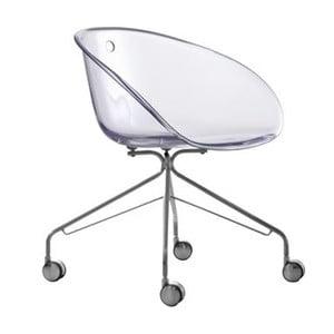 Przezroczyste krzesło na kółkach Pedrali Gliss 968